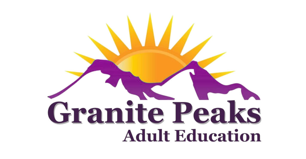 Granite Peaks Adult Education Logo with Mountains and a sunrise