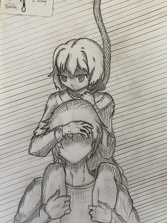 Girl with Rope on Neck on Man's Shoulders