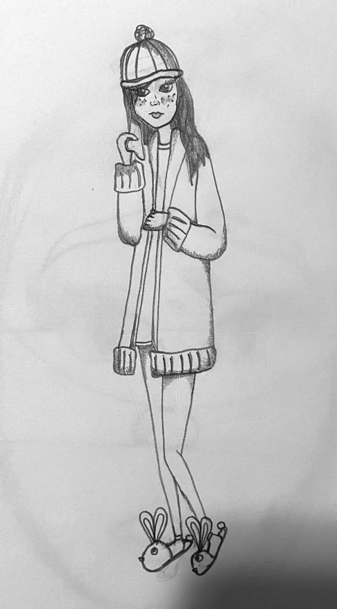Girl with Hat, Coat, and Bunny Slippers