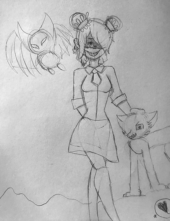 Girl with Bat and Cat