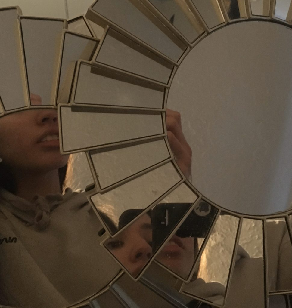 Mirror with Split Reflection