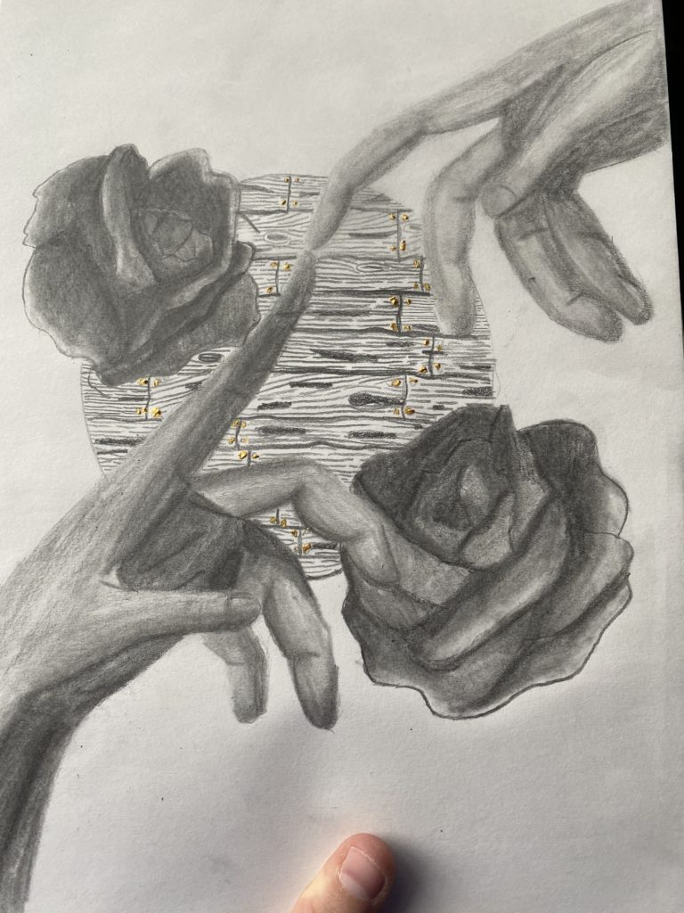 Fingers Touching over Roses and Wall