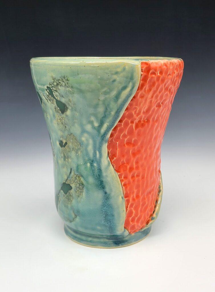 orange and blue vase