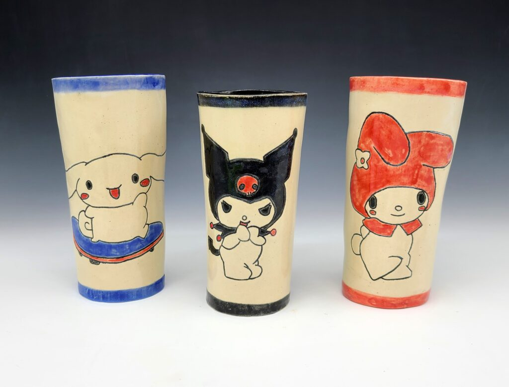 Three cups with characters