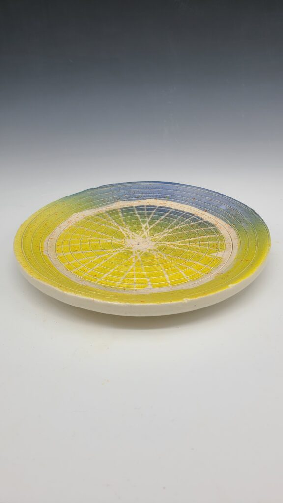 Yellow and blue plate