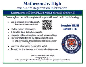 Matheson 2020 - 2021 Registration Card