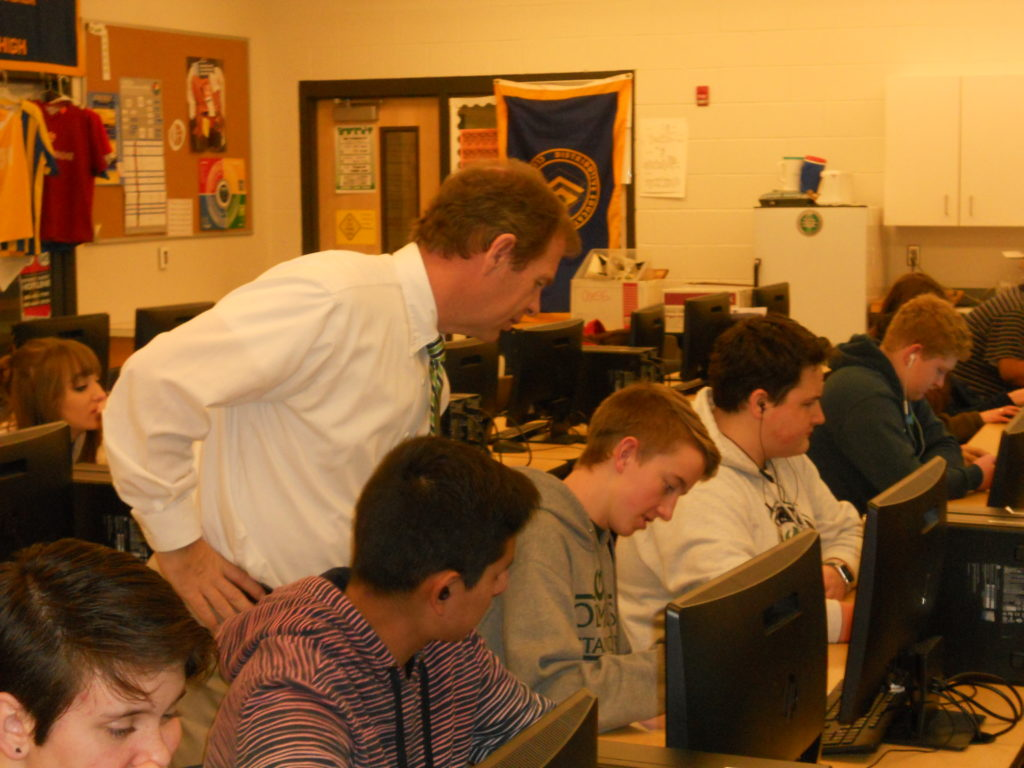 Mr. Healey in classroom