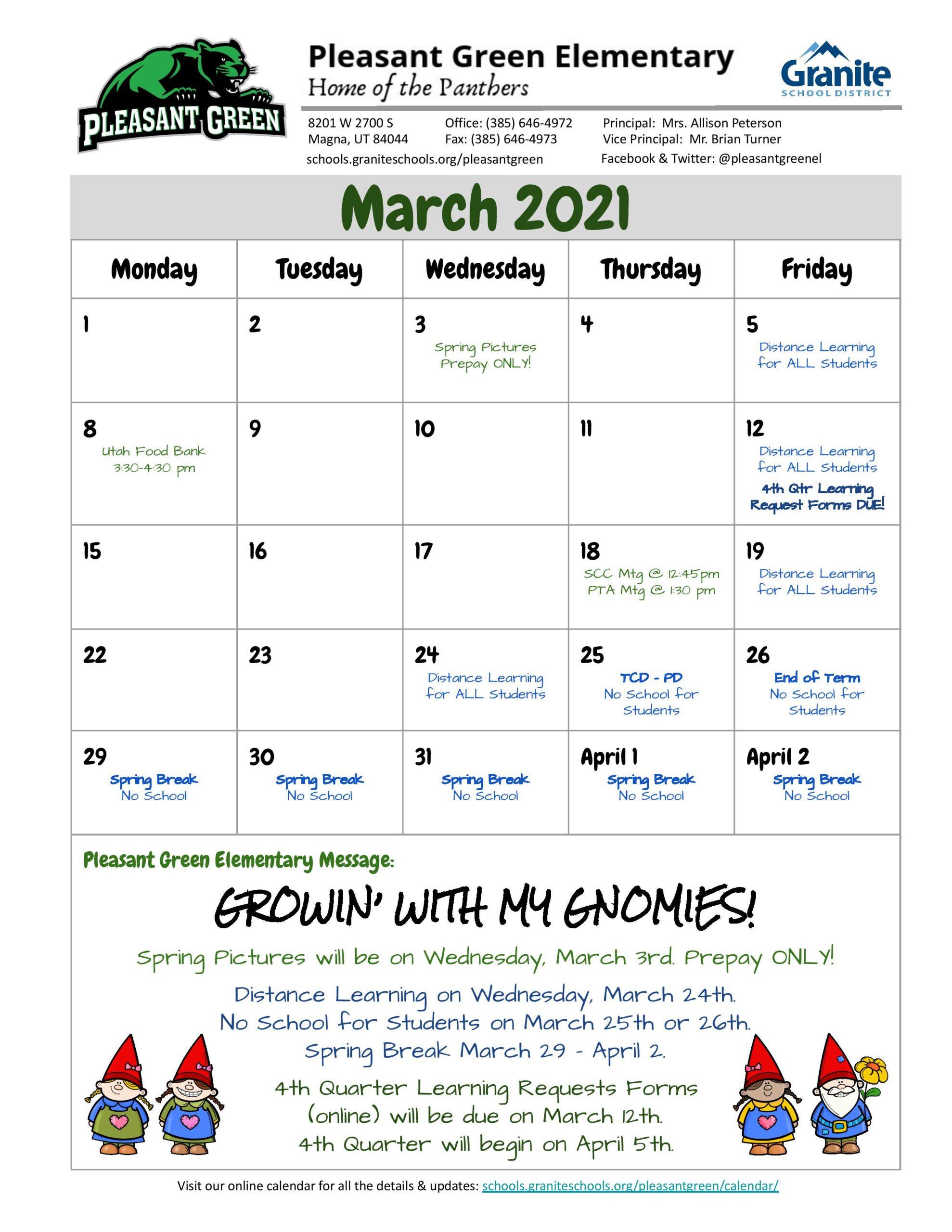 Ut Spring 2022 Calendar.March 2021 Newsletter Calendar