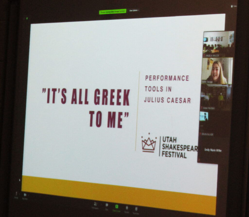 """Introductory slide to the Shakespeare unit - """"It's All Greek to Me"""""""